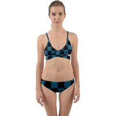 SQUARE1 BLACK MARBLE & TEAL LEATHER Wrap Around Bikini Set