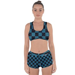 SQUARE1 BLACK MARBLE & TEAL LEATHER Racerback Boyleg Bikini Set