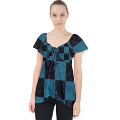 SQUARE1 BLACK MARBLE & TEAL LEATHER Lace Front Dolly Top