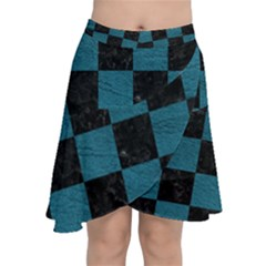 SQUARE1 BLACK MARBLE & TEAL LEATHER Chiffon Wrap