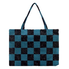 SQUARE1 BLACK MARBLE & TEAL LEATHER Medium Tote Bag