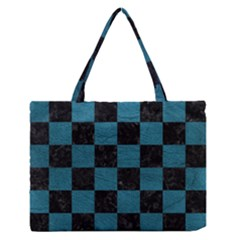 SQUARE1 BLACK MARBLE & TEAL LEATHER Zipper Medium Tote Bag