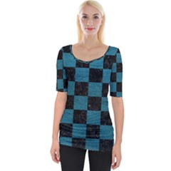 SQUARE1 BLACK MARBLE & TEAL LEATHER Wide Neckline Tee