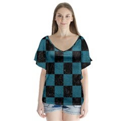 SQUARE1 BLACK MARBLE & TEAL LEATHER V-Neck Flutter Sleeve Top