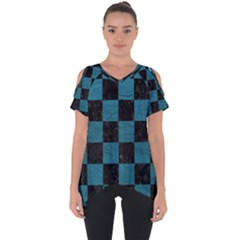 SQUARE1 BLACK MARBLE & TEAL LEATHER Cut Out Side Drop Tee
