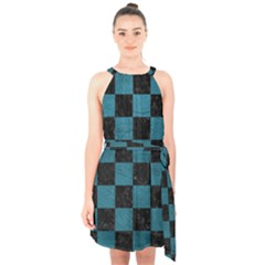 SQUARE1 BLACK MARBLE & TEAL LEATHER Halter Collar Waist Tie Chiffon Dress