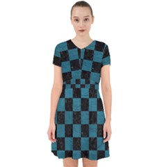 SQUARE1 BLACK MARBLE & TEAL LEATHER Adorable in Chiffon Dress