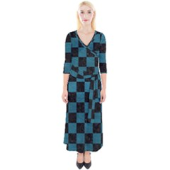SQUARE1 BLACK MARBLE & TEAL LEATHER Quarter Sleeve Wrap Maxi Dress