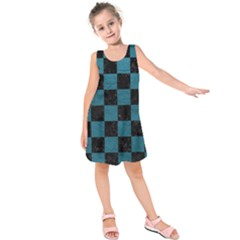 SQUARE1 BLACK MARBLE & TEAL LEATHER Kids  Sleeveless Dress