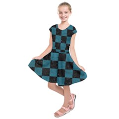 SQUARE1 BLACK MARBLE & TEAL LEATHER Kids  Short Sleeve Dress