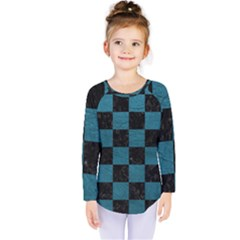 SQUARE1 BLACK MARBLE & TEAL LEATHER Kids  Long Sleeve Tee