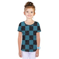 SQUARE1 BLACK MARBLE & TEAL LEATHER Kids  One Piece Tee