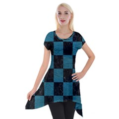 SQUARE1 BLACK MARBLE & TEAL LEATHER Short Sleeve Side Drop Tunic