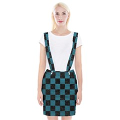 SQUARE1 BLACK MARBLE & TEAL LEATHER Braces Suspender Skirt