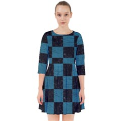 SQUARE1 BLACK MARBLE & TEAL LEATHER Smock Dress