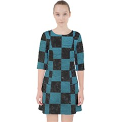 SQUARE1 BLACK MARBLE & TEAL LEATHER Pocket Dress