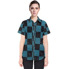 SQUARE1 BLACK MARBLE & TEAL LEATHER Women s Short Sleeve Shirt