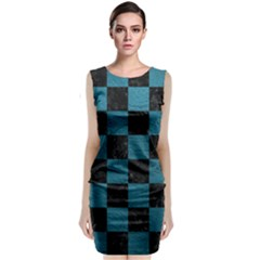 SQUARE1 BLACK MARBLE & TEAL LEATHER Sleeveless Velvet Midi Dress