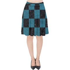 SQUARE1 BLACK MARBLE & TEAL LEATHER Velvet High Waist Skirt