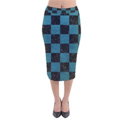 SQUARE1 BLACK MARBLE & TEAL LEATHER Velvet Midi Pencil Skirt