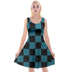 SQUARE1 BLACK MARBLE & TEAL LEATHER Reversible Velvet Sleeveless Dress