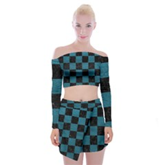SQUARE1 BLACK MARBLE & TEAL LEATHER Off Shoulder Top with Mini Skirt Set