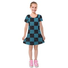 SQUARE1 BLACK MARBLE & TEAL LEATHER Kids  Short Sleeve Velvet Dress