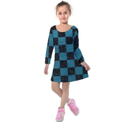 SQUARE1 BLACK MARBLE & TEAL LEATHER Kids  Long Sleeve Velvet Dress
