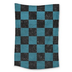 SQUARE1 BLACK MARBLE & TEAL LEATHER Large Tapestry