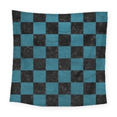SQUARE1 BLACK MARBLE & TEAL LEATHER Square Tapestry (Large)