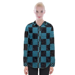 SQUARE1 BLACK MARBLE & TEAL LEATHER Womens Long Sleeve Shirt