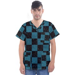 SQUARE1 BLACK MARBLE & TEAL LEATHER Men s V-Neck Scrub Top