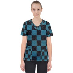 SQUARE1 BLACK MARBLE & TEAL LEATHER Scrub Top