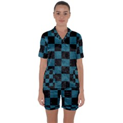 SQUARE1 BLACK MARBLE & TEAL LEATHER Satin Short Sleeve Pyjamas Set