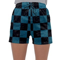 SQUARE1 BLACK MARBLE & TEAL LEATHER Sleepwear Shorts