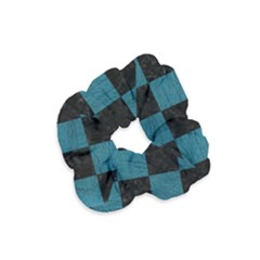 SQUARE1 BLACK MARBLE & TEAL LEATHER Velvet Scrunchie
