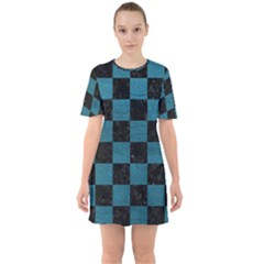 SQUARE1 BLACK MARBLE & TEAL LEATHER Sixties Short Sleeve Mini Dress