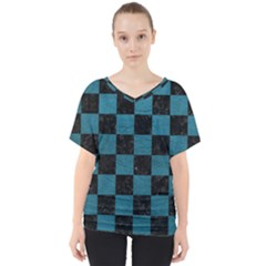 SQUARE1 BLACK MARBLE & TEAL LEATHER V-Neck Dolman Drape Top
