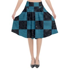SQUARE1 BLACK MARBLE & TEAL LEATHER Flared Midi Skirt