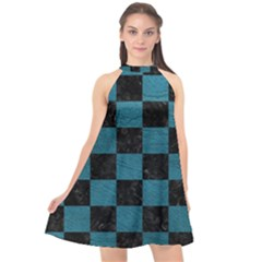 SQUARE1 BLACK MARBLE & TEAL LEATHER Halter Neckline Chiffon Dress