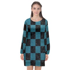 SQUARE1 BLACK MARBLE & TEAL LEATHER Long Sleeve Chiffon Shift Dress