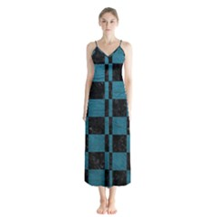 SQUARE1 BLACK MARBLE & TEAL LEATHER Button Up Chiffon Maxi Dress
