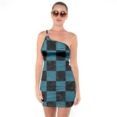 SQUARE1 BLACK MARBLE & TEAL LEATHER One Soulder Bodycon Dress