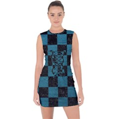 SQUARE1 BLACK MARBLE & TEAL LEATHER Lace Up Front Bodycon Dress