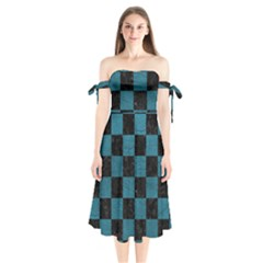 SQUARE1 BLACK MARBLE & TEAL LEATHER Shoulder Tie Bardot Midi Dress