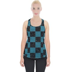 SQUARE1 BLACK MARBLE & TEAL LEATHER Piece Up Tank Top