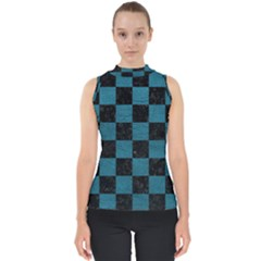 SQUARE1 BLACK MARBLE & TEAL LEATHER Shell Top