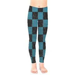SQUARE1 BLACK MARBLE & TEAL LEATHER Kids  Legging
