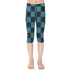 SQUARE1 BLACK MARBLE & TEAL LEATHER Kids  Capri Leggings