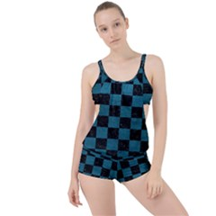 SQUARE1 BLACK MARBLE & TEAL LEATHER Boyleg Tankini Set
